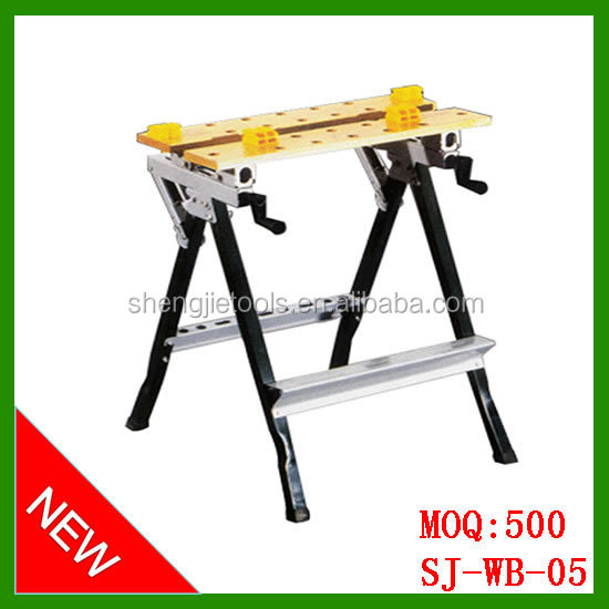 Fold down woordworking folding workbench with clamp