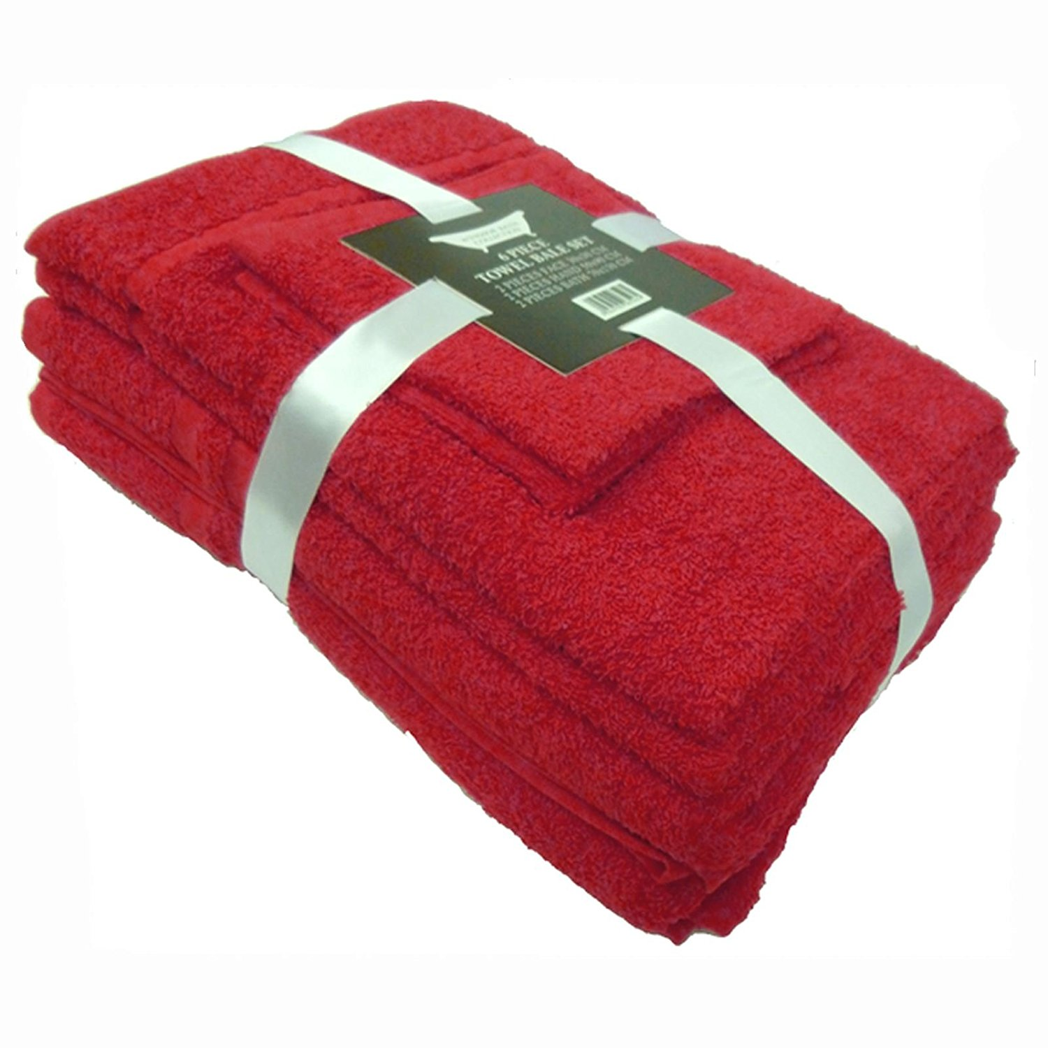 Towel Bale 6 piece (2 face, 2 hand, 2 bath) 450gsm 100% Cotton - Dark Red