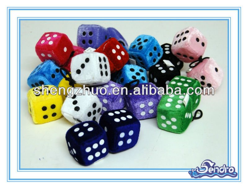 Stuffed colored custom fuzzy Dice set of two for sale, plush Fuzzy dice wholesale