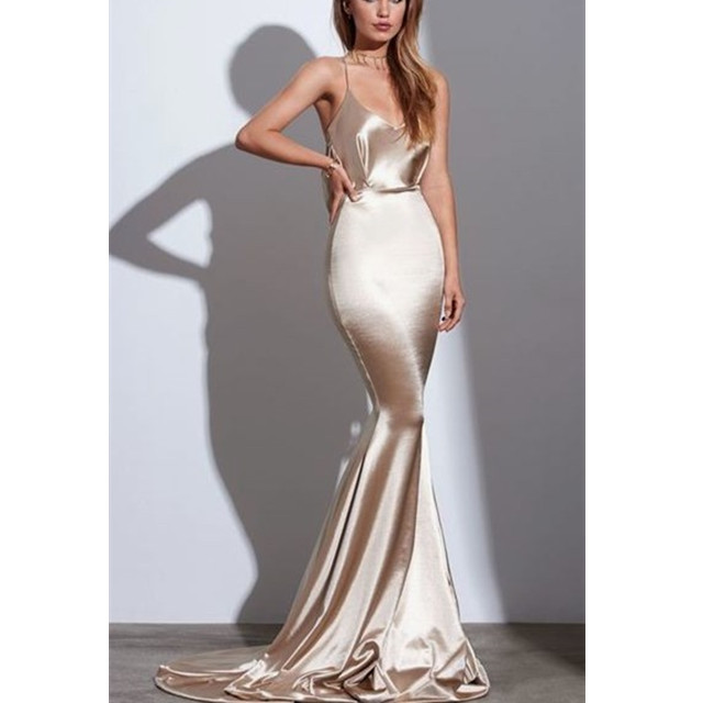 Glamorous Dresses Spaghetti Strap Backless Sexy Long Formal Evening Party Dress White and Rose Gold Color