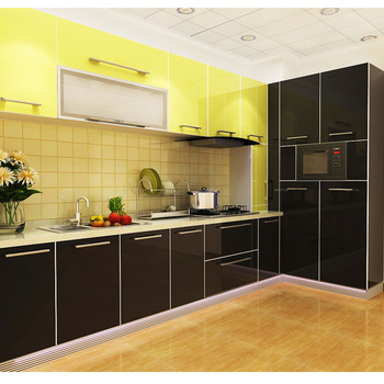 Black High Gloss Kitchen Cabinets Simple Designs Pantry Cupboards