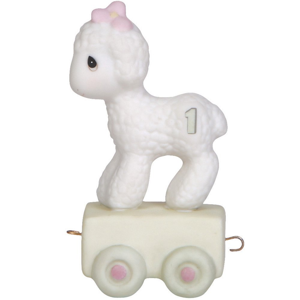 "Precious Moments, Birthday Gifts, ""Happy Birthday Little Lamb"", Birthday Train Age 1, Bisque Porcelain Figurine, #142021"