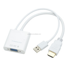 CHEERLINK Full 1080P HD VGA Female to HDMI 1.4 Male + USB 2.0 Adapter Cable - White (18.5cm)