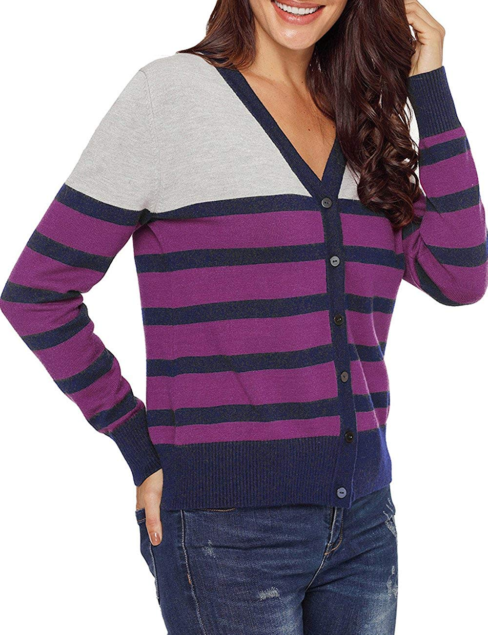 CILKOO Womens Color Block Stripe Print Button Front Knitwears Long Sleeve Casual Cardigan Sweater