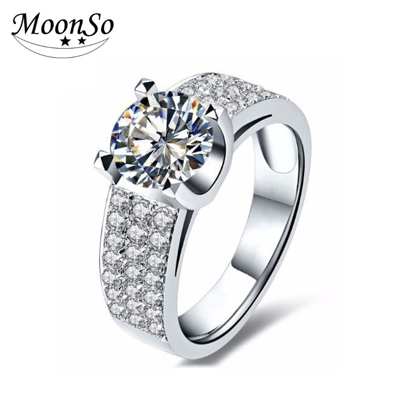 925 Sterling Silver Three Rows CZ Diamond Ring Engagement Wedding Finger Rings Fashion Jewelry For Women AR1913S