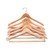 Contoured wooden suit hangers with sturdy locking bar, natural clothing hangers organization