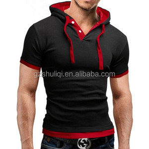 Wholesale blank Casual Short Sleeve fit running t shirt with hoodies /custom men t-shirts 100% cotton with high quality