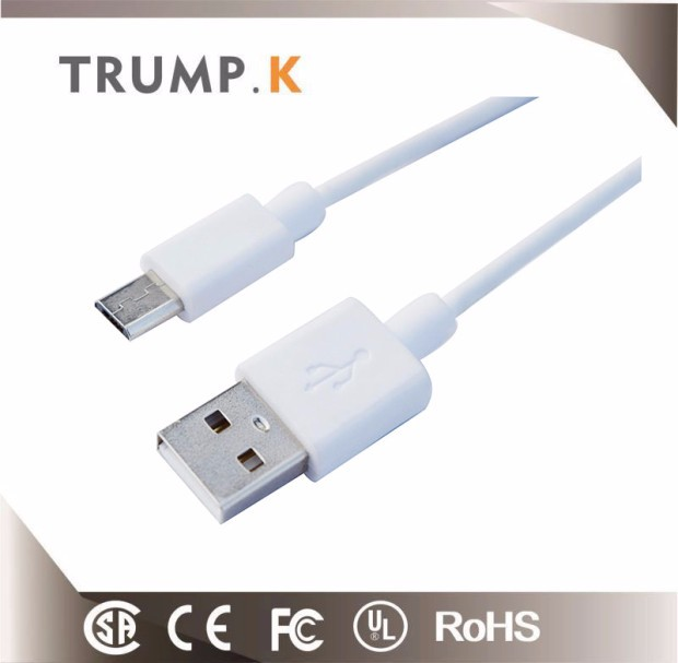 2018 White short micro 5-pin usb charging data cable for sale in alibaba