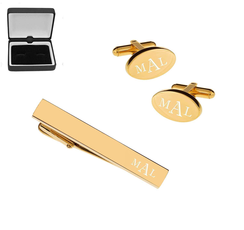 Personalized Gold Oval Cufflinks & Tie Bar Clip Set Custom Monogram Engraved Free