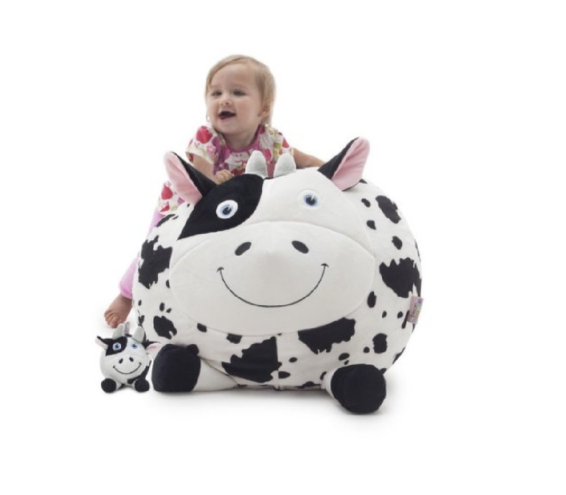 "Oversize Bean Bag Chairs for Kids (Big Joe Cow 24"" x 22"" x 16"" Filled with UltimaX Beans) Perfect Birthday Gift for Boy & Girls 2-5 Years Old. Soft & Comfy that Creates Cozy Lounger Bed or Seat. White"
