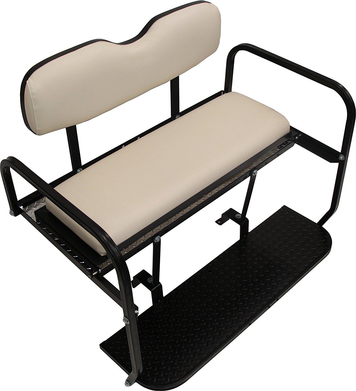 "Yamaha G29 Drive Golf Cart ""All American"" Rear Flip Back Seat Kit - Gray Cushions - High Density Polyethylene Deck"