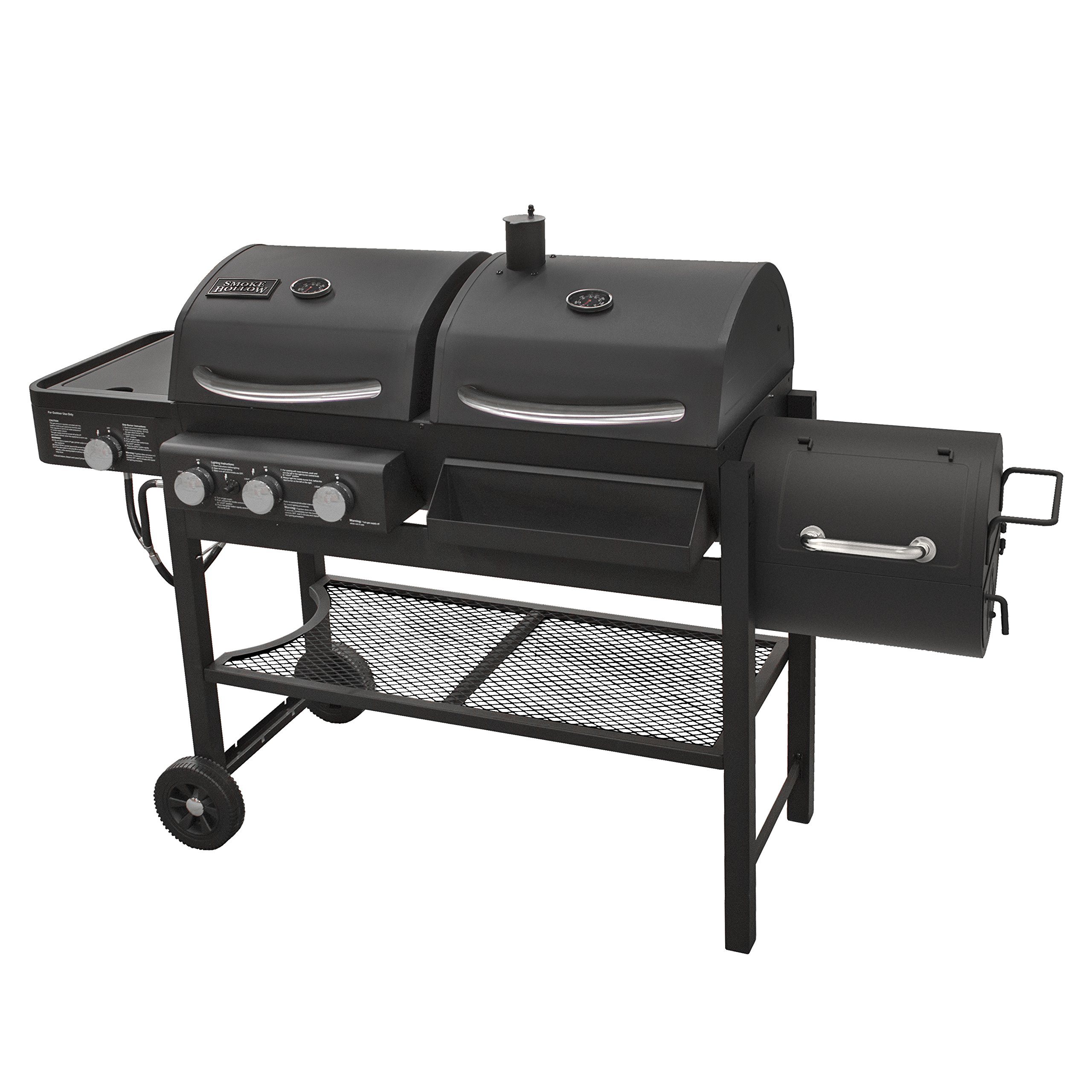 Smoke Hollow Tc3718sb Gas Charcoal Smoker Combination Grill With Side Burner