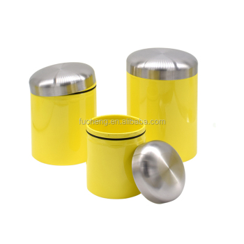 Three Different Size Yellow Kitchen Canister Set With Silicone Ring - Buy  Canister Set,Kitchen Canister,Kitchen Canister Set Product on Alibaba.com