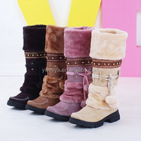 MY-302 2019 Wholesale Flower Embroidered Women Winter cashmere fur Snow Boot Lady warm tassels Boot