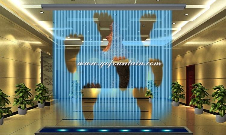 Outdoor kunstmatige drijvende waterval fontein, grafische digitale water gordijn, indoor water fontein