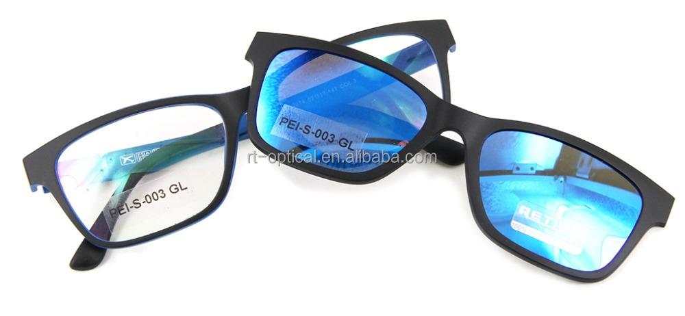 Lunettes de soleil personnalisé cadres optiques corée rectangulaire bleu  ultem homme adolescent polarisé clip sur les f276286be06f
