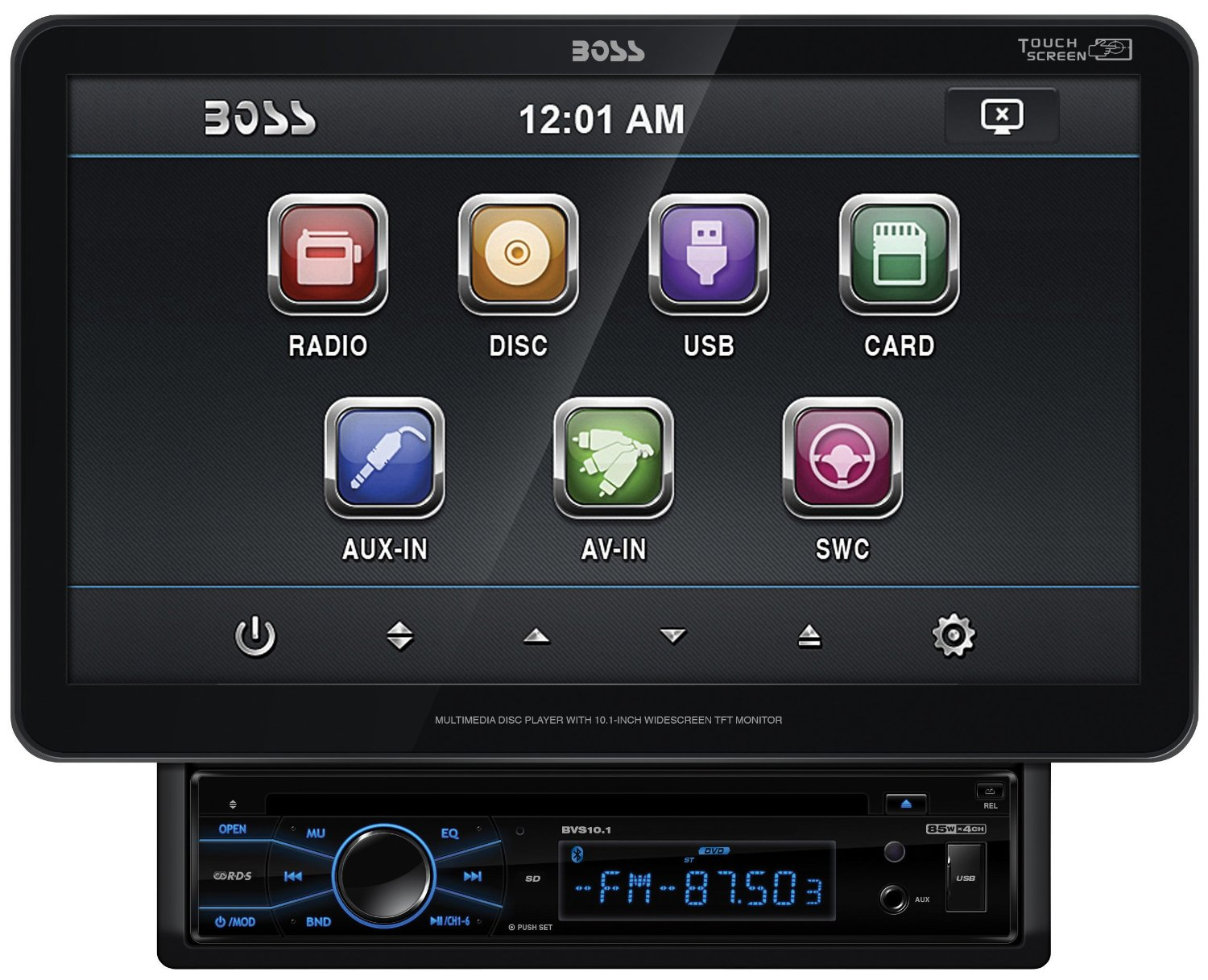 BOSS Audio BVS10.1 In-Dash Single-Din 10.1-inch Motorized Detachable