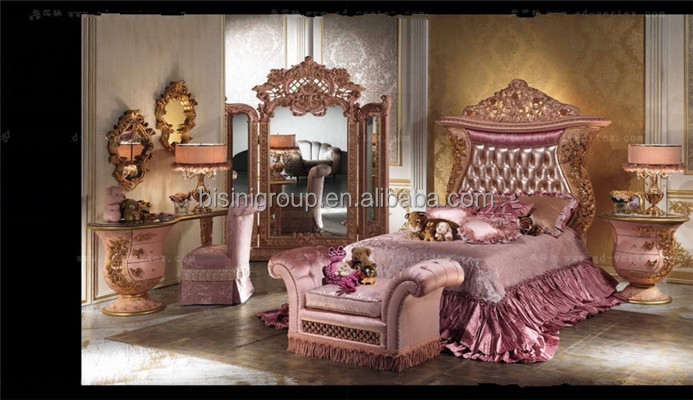 Luxury Children Dresser With Mirror Royal Princess Pink Kids Bed Small Size Children Bedroom
