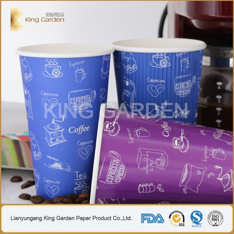 Custom print disposable paper cup with lids for hot chocolate