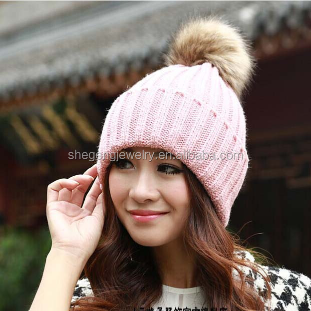 Korean Women Winter Knit Caps Warm Oversized Cuffed Beanie Crochet Ski Hats bbd1057def6