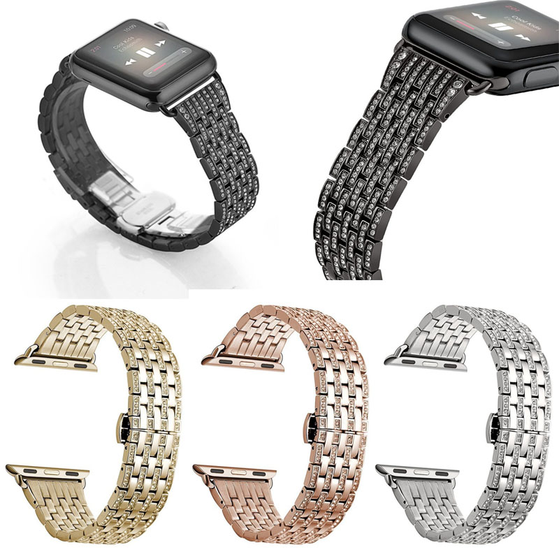 New Arrival Fashion Design Diamond Watch band for Apple Watch 38mm/42mm(Silver)