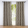 Embroidered Rhombic Geometric Semi-Sheer Grommet Upholstery Sipmle Window Curtain Decorative Curtains