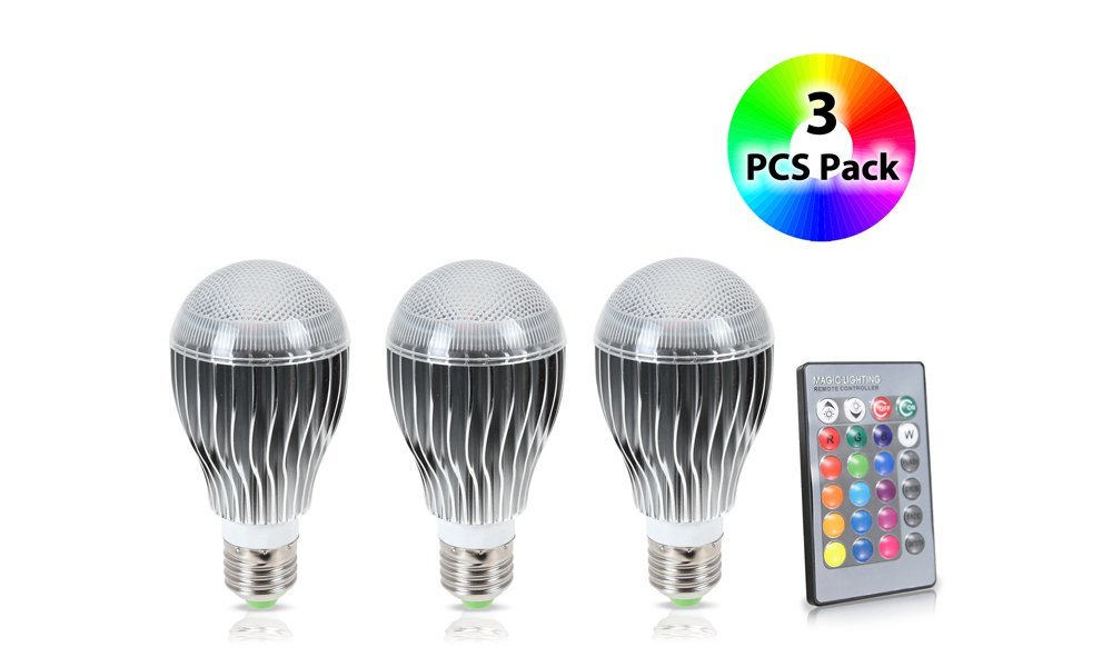 GPCT LED 9W Color Changing Bulb with 64 Levels of Brightness/Color Combinations and 5 Lighting Modes - 3 Pack