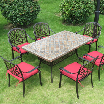 Attrayant Outdoor Garden Patio Terrace Deck Furniture Set Square Round Marble Mosaic  Table Top With Wrought Iron
