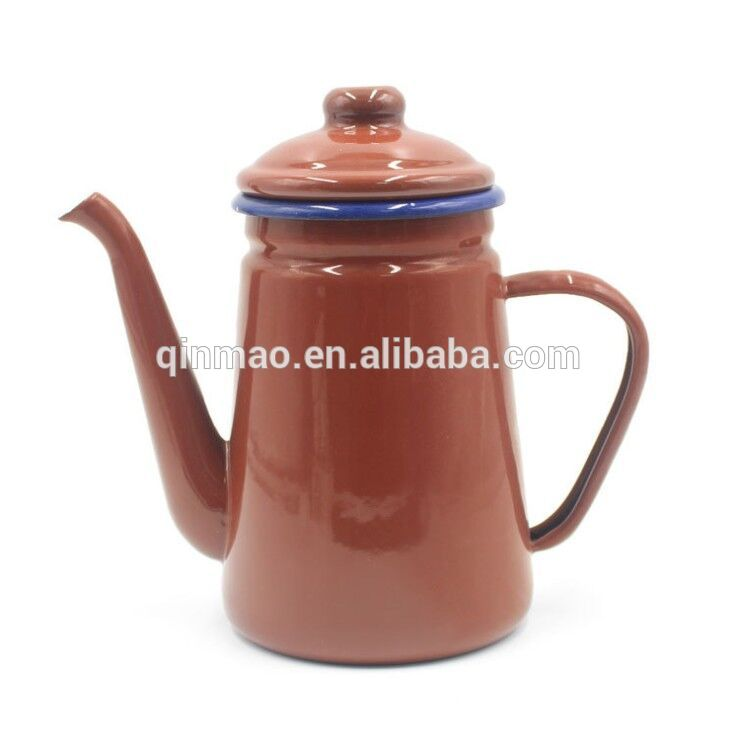 1.1L red vintage enamel coffee pot