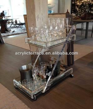 Lucite Acrylic Bar Cart Interior Design Home Serving Trolley Buy