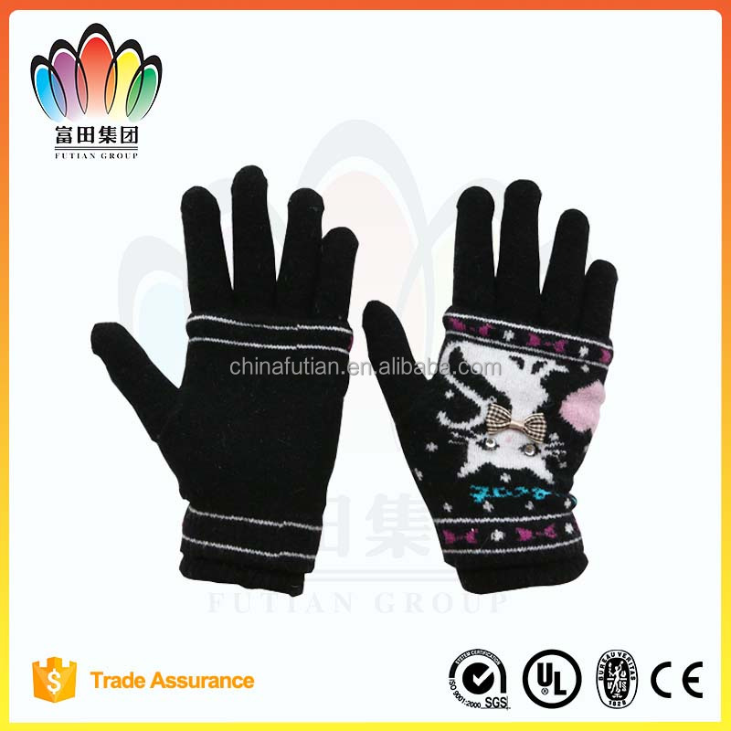 FT FASHION Girls' acrylic knitted glove,cat pattern,Two layer applique magic glove