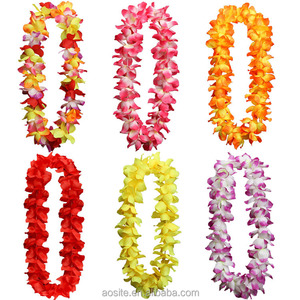 Colorful artificial flower hawaiian lei necklace in bulk