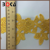 African voile lace trim Yellow Embroidered Floral Lace Trimming