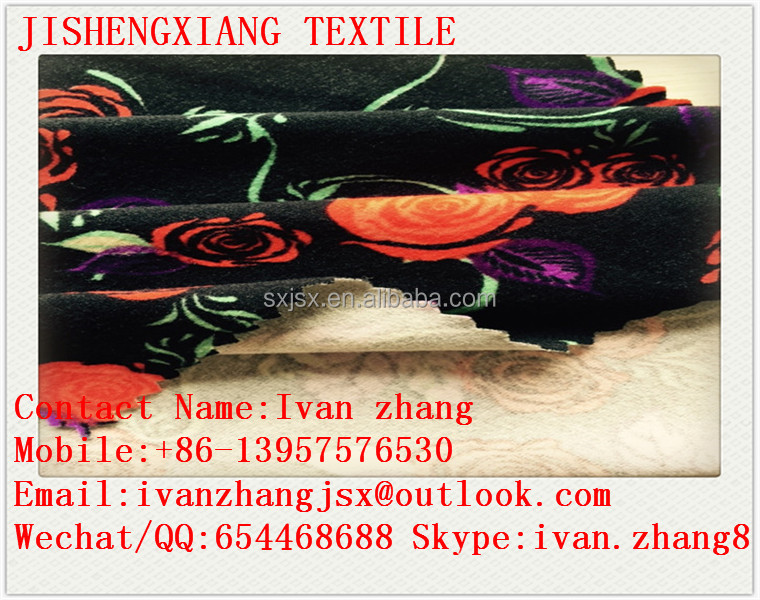 Jishengxiang textile poly spun 93 polyester 7 spandex printed knitted fabric