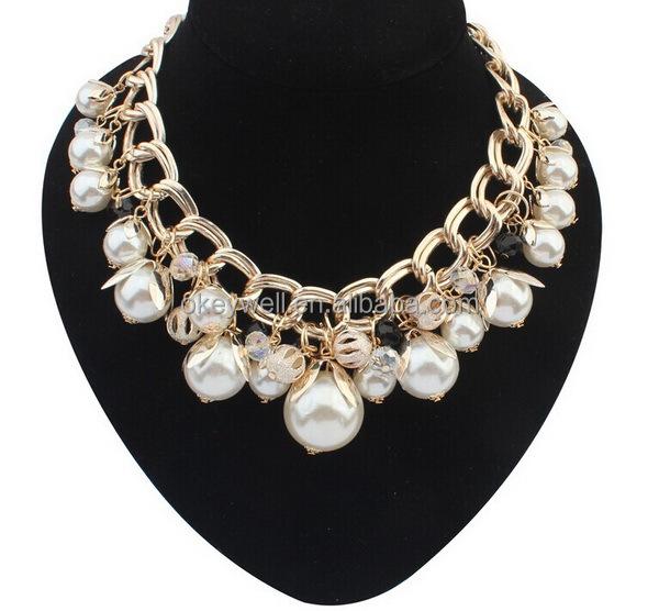 N122 envío libre china artificial perlas declaración accesorios bisuteria barata hermosa cadena de oro de la