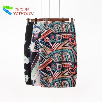 YIZHIQIU Causal Printed Ladies One Step Mini Skirt
