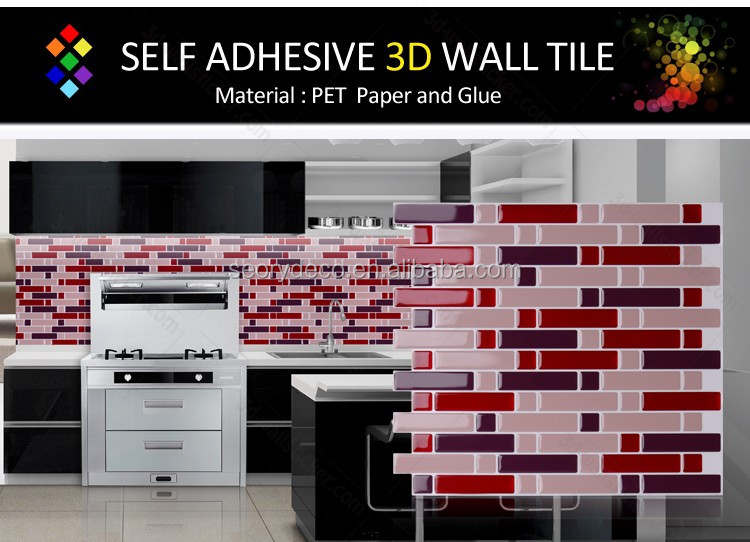 High gloss peel and stick instant mosaics for home wall mosaic decor