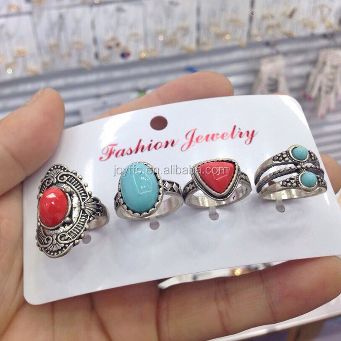 2017 New Boho 4pcs Jewelry Rings Unique Faux Stone Cuff Vintage Ring Set
