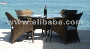 Crt 3678 Crete Dining Table (120 x 120 x 76) & Nr 130 Crete Armchair (64 x 62 x 90)
