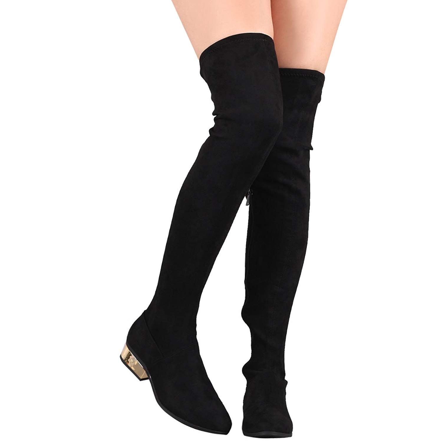 e797c6940 Bamboo Womens Closed Almond Toe Stretch Fitted Vegan Suede Over The Knee  High Low Block Heel