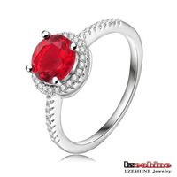 Classical Round Red Ruby Stone Ring Craft Candle Romantic Proposal ring CRI0175-B