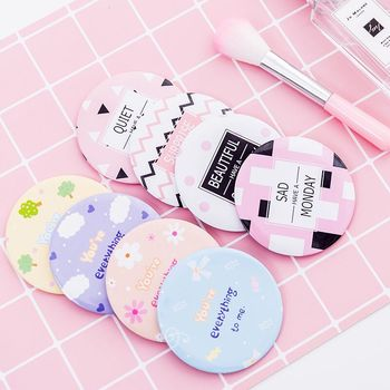 Custom Print Logo Cute Acrylic Pocket Round Mini Make Up Hand Mirror