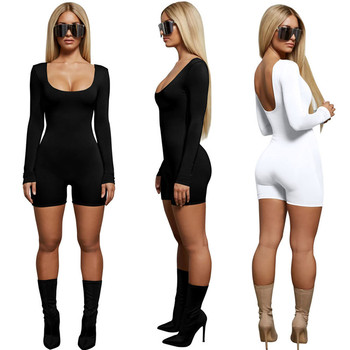 fashion bulk wholesale long sleeve solid polyester spandex bodycon fitted jumpsuits for women