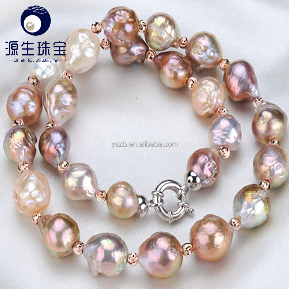 mixed color Edison near round large pearl necklace for women