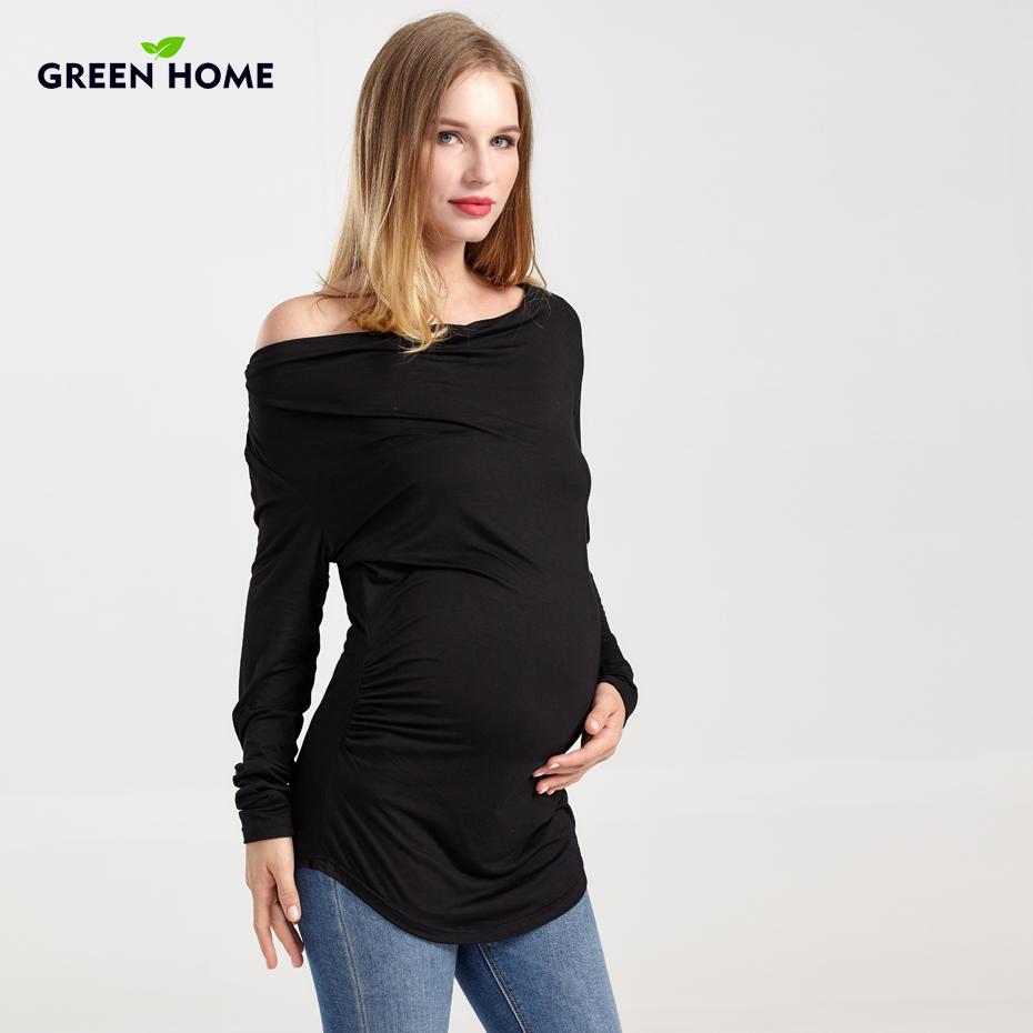 1174b7c72eb Embarazada camiseta Camiseta de manga larga de invierno de ropa de  maternidad de dos colores espesar