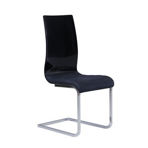 High gloss Black PU leather metal frame Z shape dining chair