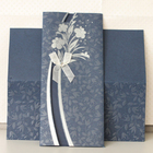 Fancy Blue Floral English Wedding Invitation Cards with Ribbon and Buckle