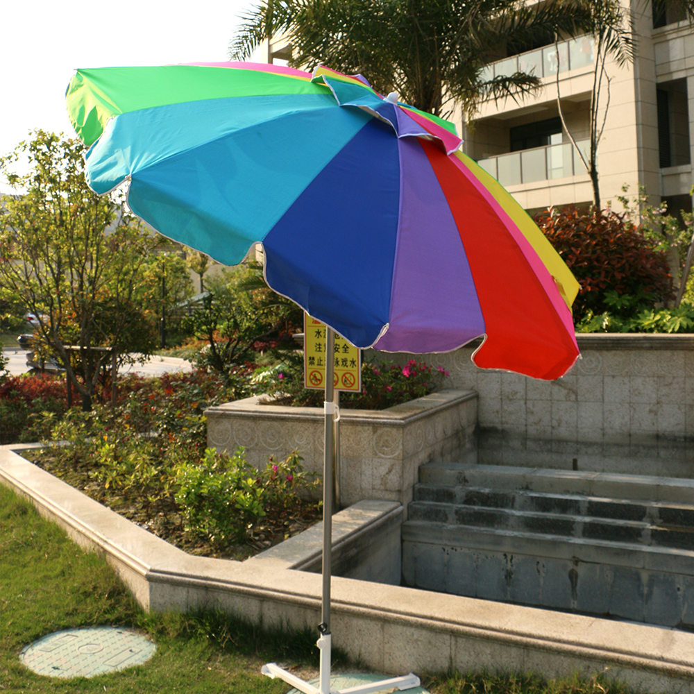 8ft 16 Panel polyester Fabric Rainbow Color With Titl Beach Umbrella