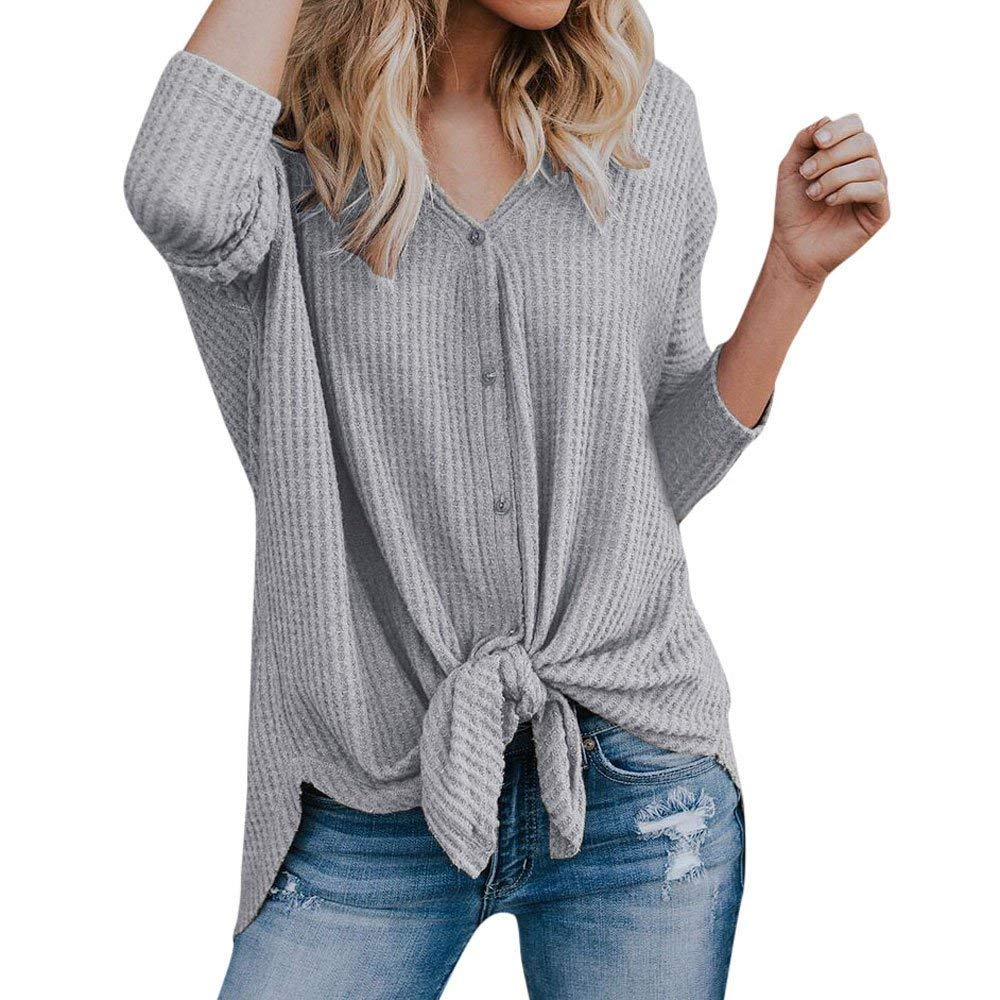 73c73c68c20b96 Get Quotations · WM & MW Womens Casual Knit Tops Long Sleeve Solid Plain  Tie Knot Button Henley Shirts