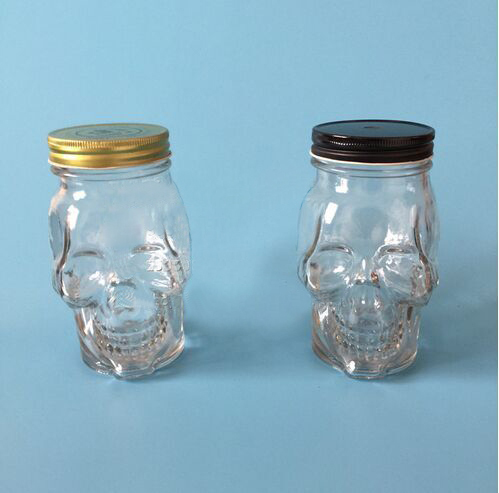 16oz unique skull head glass mason bottle crossbones glass ball mason jar  with handle and straw
